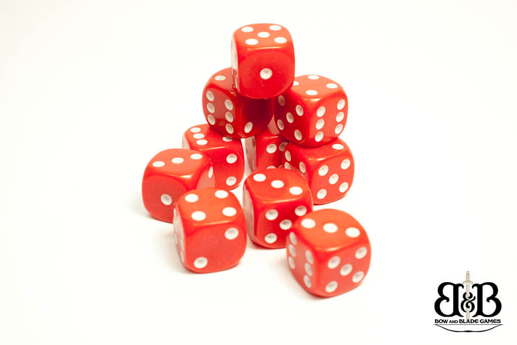 16mm Red spotted Dice Bow & Blade Games