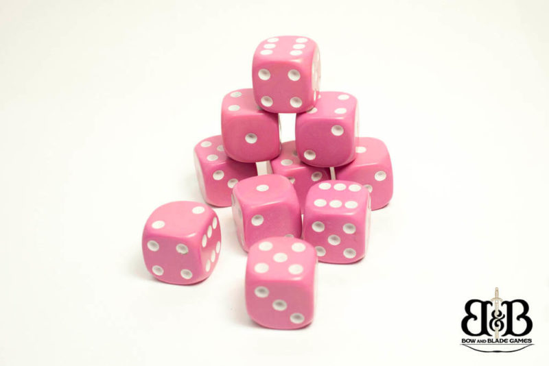 16mm Pink spotted Dice Bow & Blade Games