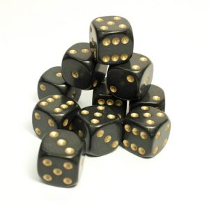 16mm Black dice with gold spots Bow and Blade Games