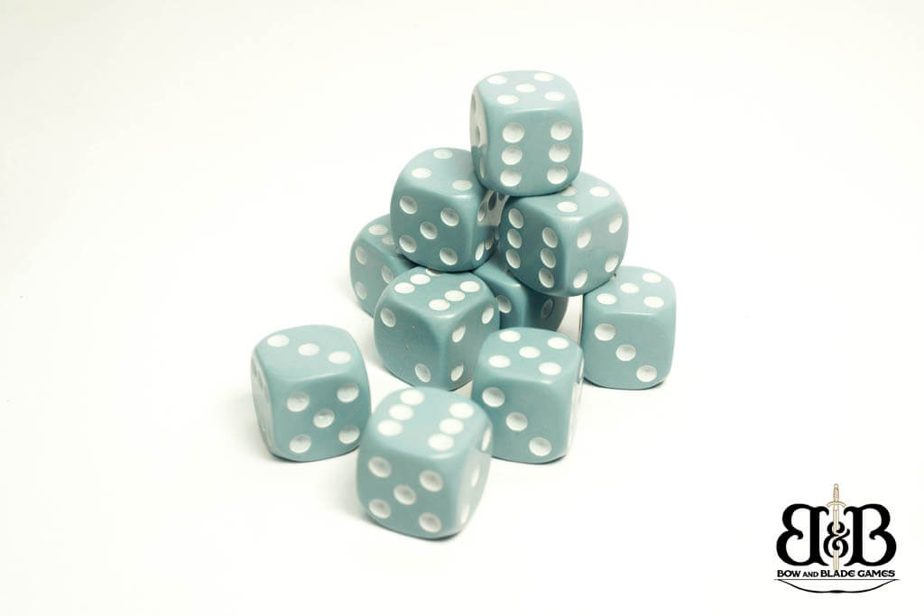16mm Blue Grey spotted Dice - Bow and Blade Games