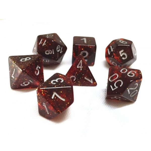 Galaxy Dark Red Poly Dice Set