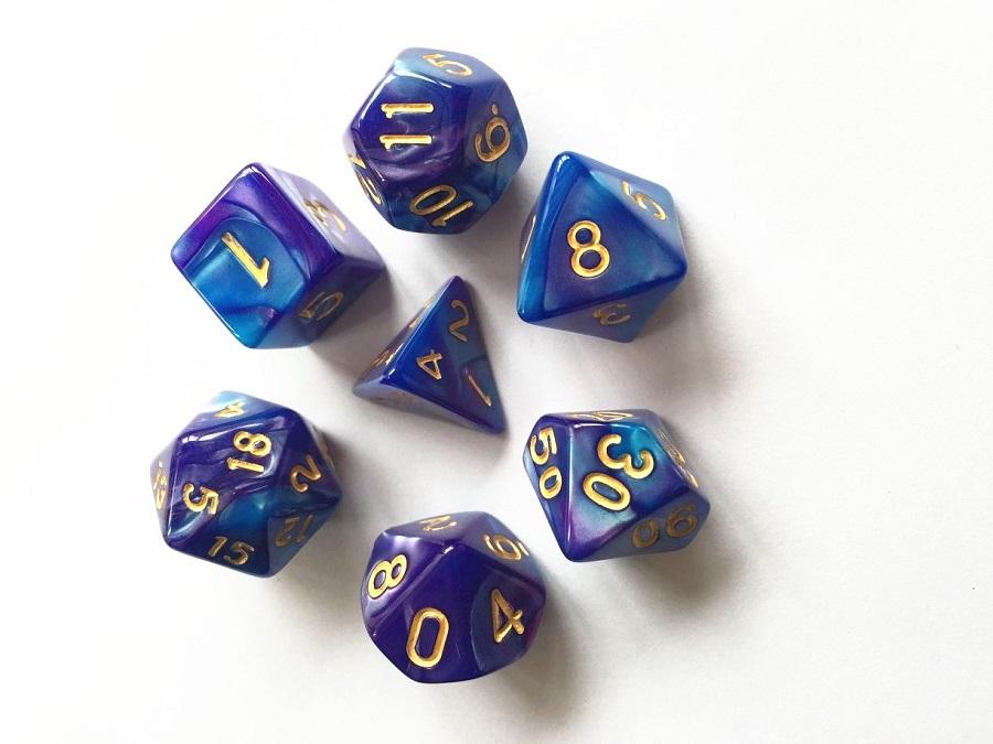 HDB20 Deep Blue Purple Poly Dice Set