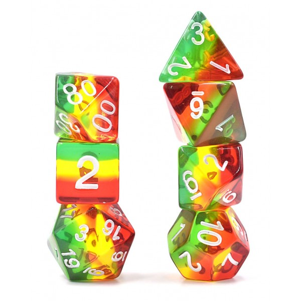 HDTL-02 rasta gem poly dice set