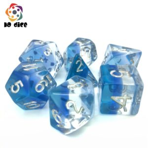 Aurora Blue Gem Poly Dice Set