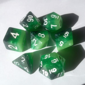 Rainbow emerald poly dice set