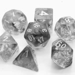storm Grey poly dice set